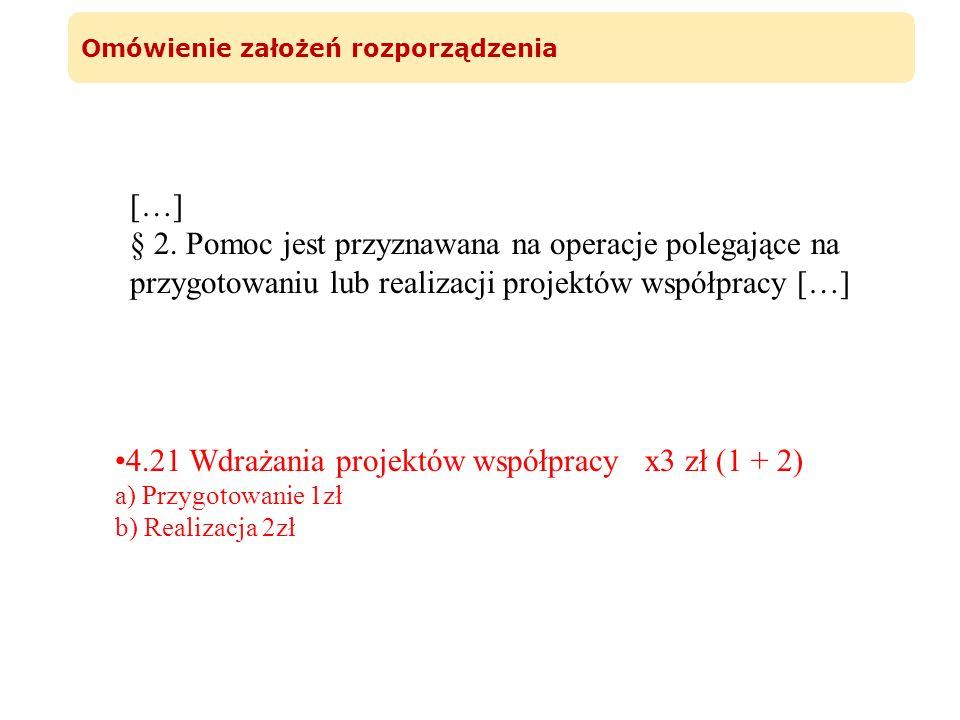 4.21 Wdrażania projektów współpracy x3 zł (1 + 2)