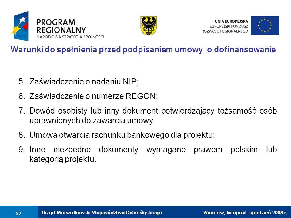 Warunki do spełnienia przed podpisaniem umowy o dofinansowanie