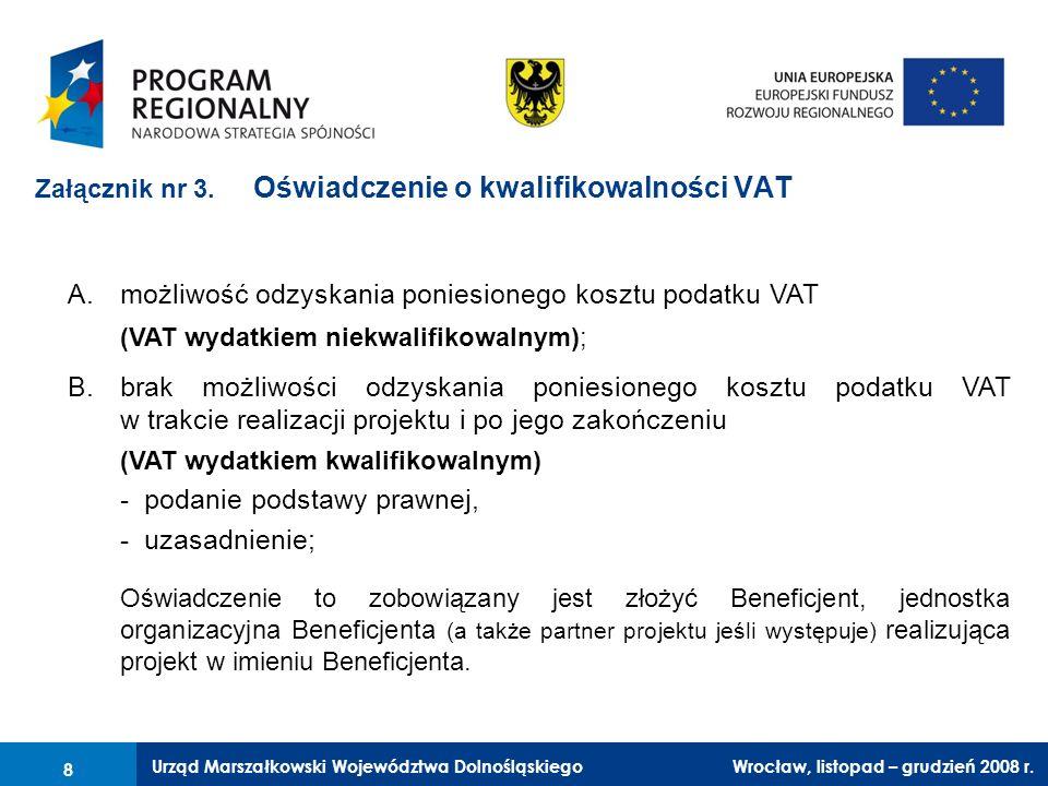 Załącznik nr 3. Oświadczenie o kwalifikowalności VAT