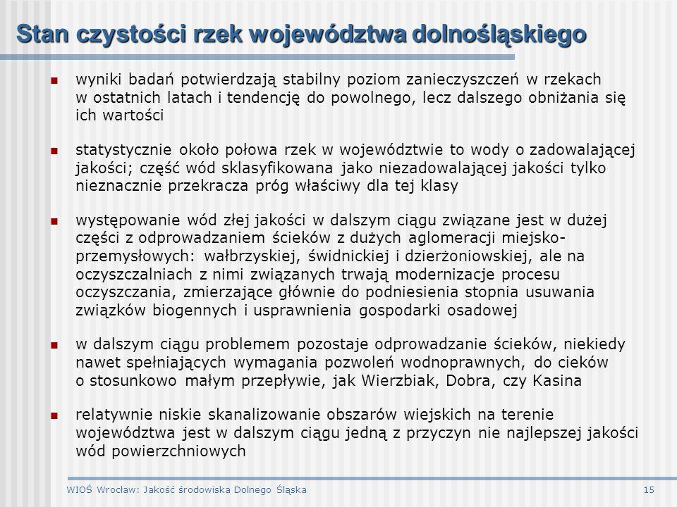 Stan czystości rzek województwa dolnośląskiego