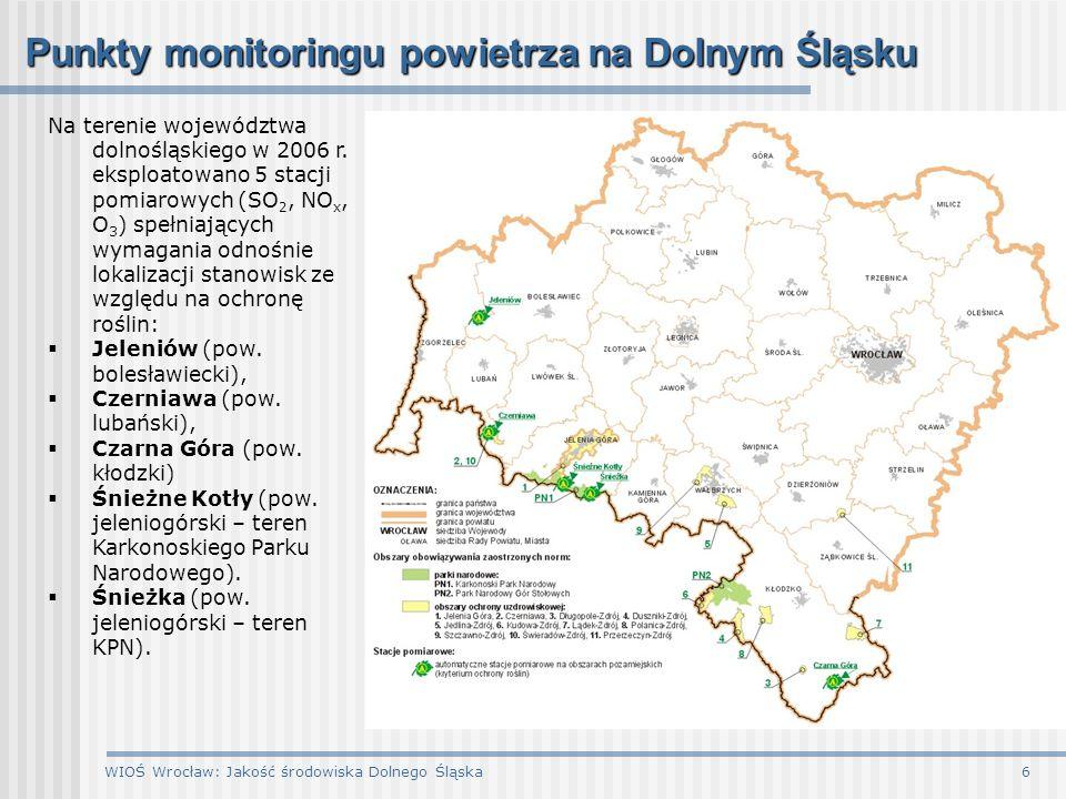 Punkty monitoringu powietrza na Dolnym Śląsku