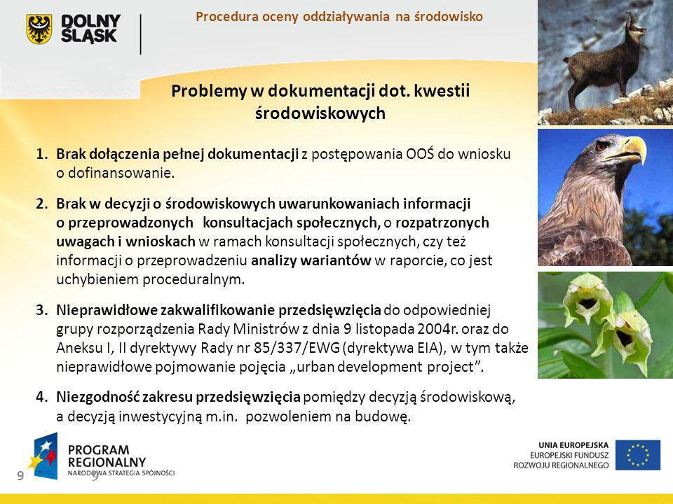 Problemy w dokumentacji dot. kwestii środowiskowych