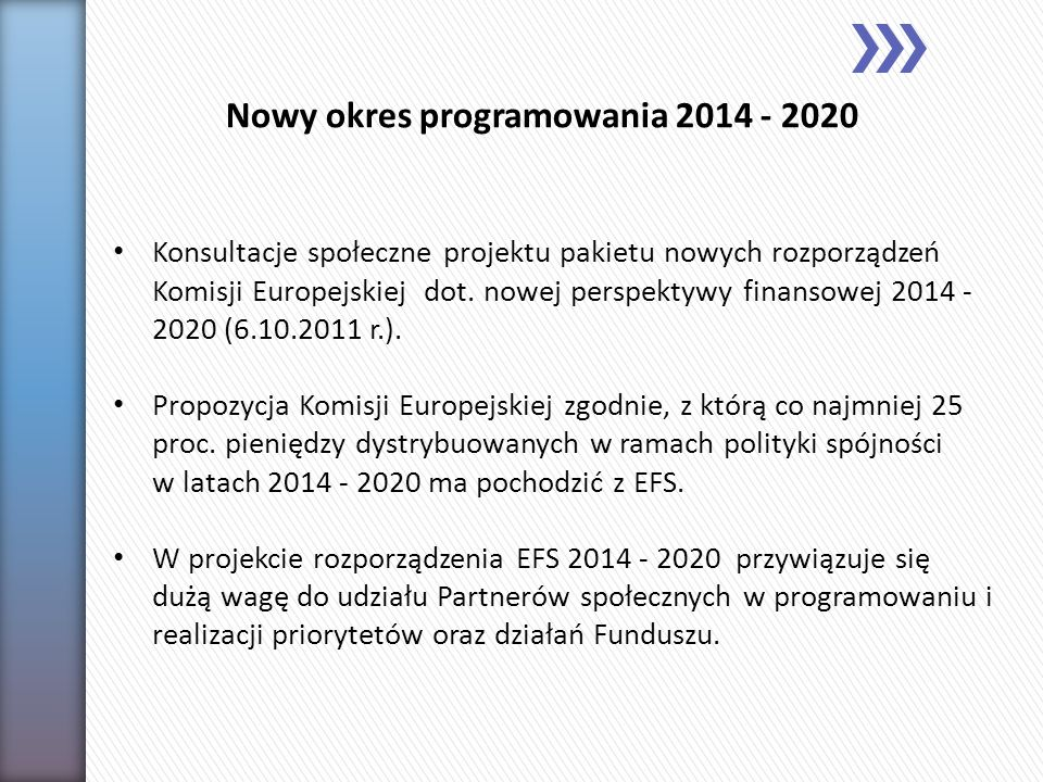 Nowy okres programowania 2014 - 2020