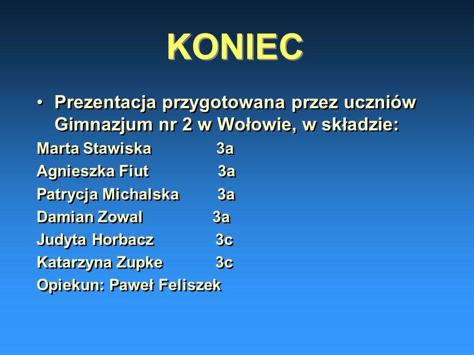KONIEC Prezentacja przygotowana przez uczniów Gimnazjum nr 2 w Wołowie, w składzie: Marta Stawiska 3a.