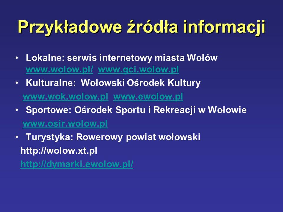 Przykładowe źródła informacji