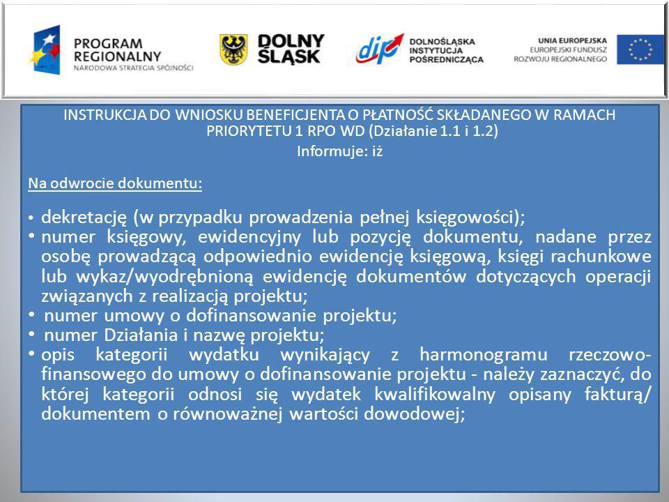 numer umowy o dofinansowanie projektu;