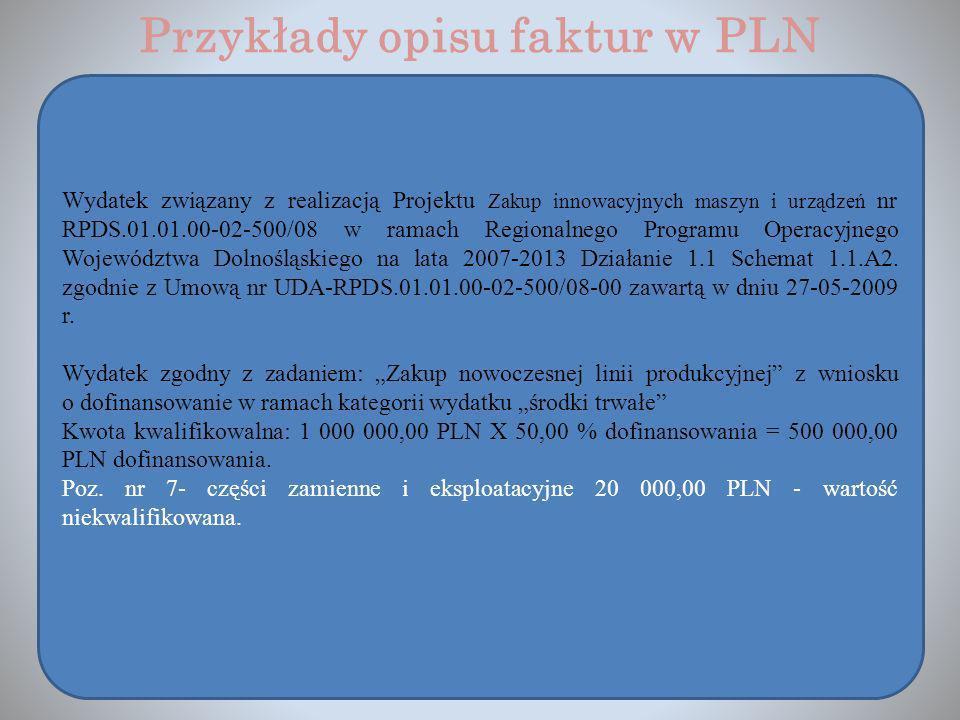 Przykłady opisu faktur w PLN