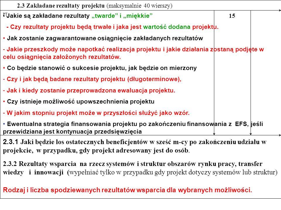 """15 PT. 2.3 Zakładane rezultaty projektu (maksymalnie 40 wierszy) Jakie są zakładane rezultaty """"twarde i """"miękkie"""