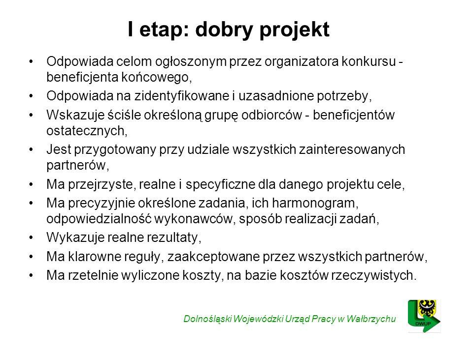 I etap: dobry projekt Odpowiada celom ogłoszonym przez organizatora konkursu - beneficjenta końcowego,