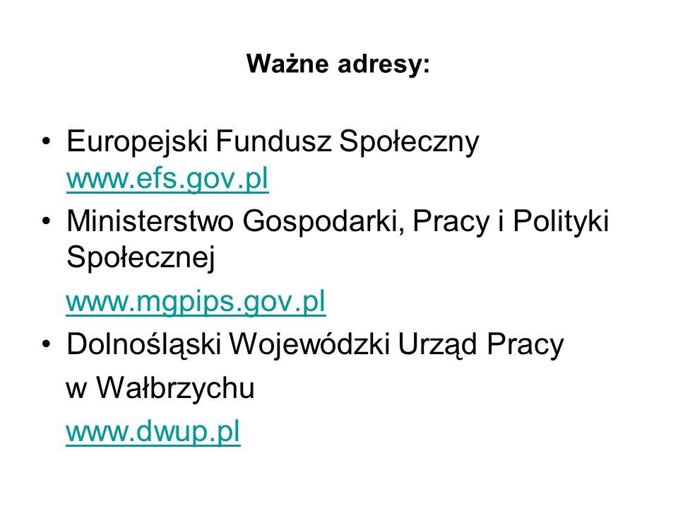 Europejski Fundusz Społeczny www.efs.gov.pl