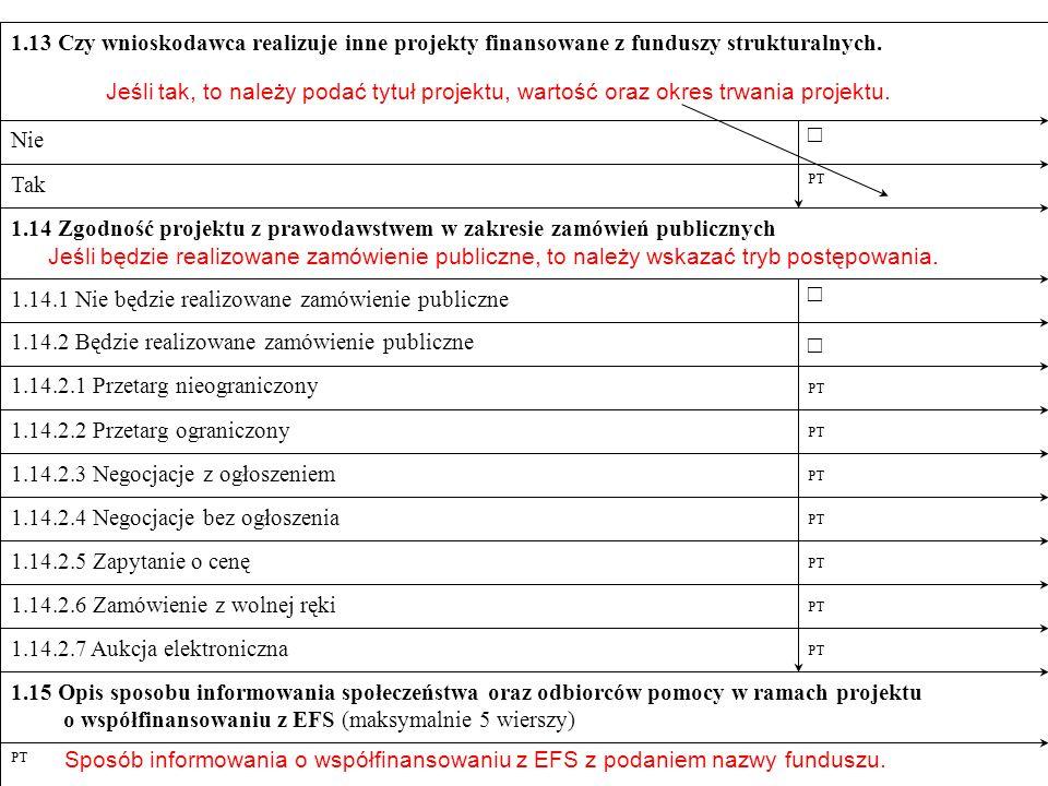 o współfinansowaniu z EFS (maksymalnie 5 wierszy)