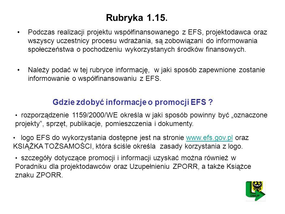 Rubryka 1.15. Gdzie zdobyć informacje o promocji EFS