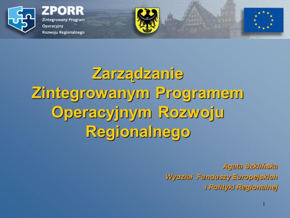 Zarządzanie Zintegrowanym Programem Operacyjnym Rozwoju Regionalnego