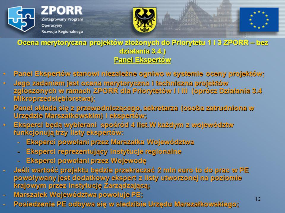 Ocena merytoryczna projektów złożonych do Priorytetu 1 i 3 ZPORR – bez działania 3.4.) Panel Ekspertów