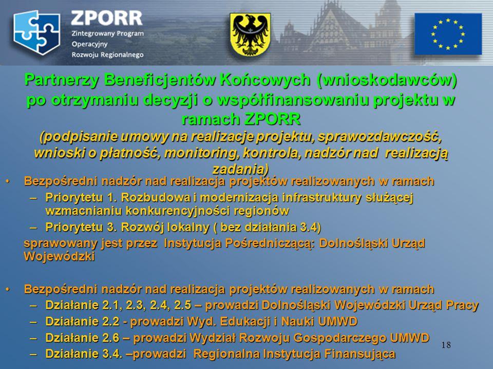 Partnerzy Beneficjentów Końcowych (wnioskodawców) po otrzymaniu decyzji o współfinansowaniu projektu w ramach ZPORR (podpisanie umowy na realizacje projektu, sprawozdawczość, wnioski o płatność, monitoring, kontrola, nadzór nad realizacją zadania)
