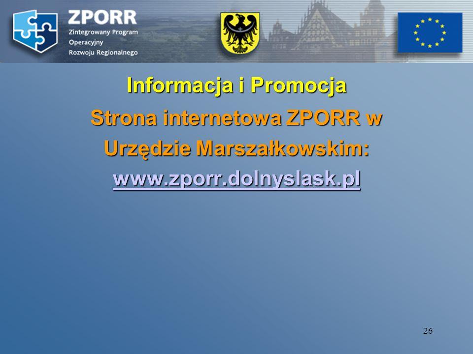 Strona internetowa ZPORR w Urzędzie Marszałkowskim: