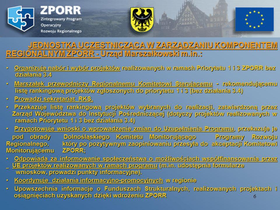 JEDNOSTKA UCZESTNICZĄCA W ZARZĄDZANIU KOMPONENTEM REGIONALNYM ZPORR - Urząd Marszałkowski m.in.: