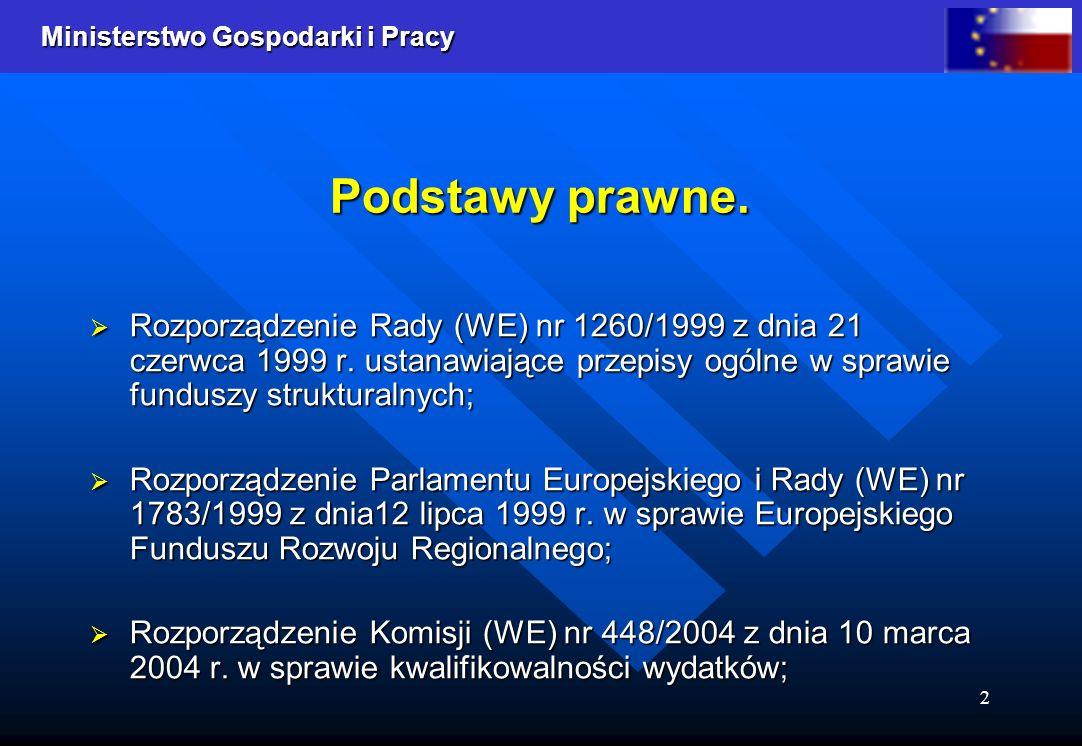 Podstawy prawne. Rozporządzenie Rady (WE) nr 1260/1999 z dnia 21 czerwca 1999 r. ustanawiające przepisy ogólne w sprawie funduszy strukturalnych;