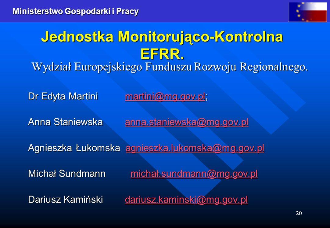 Jednostka Monitorująco-Kontrolna EFRR.