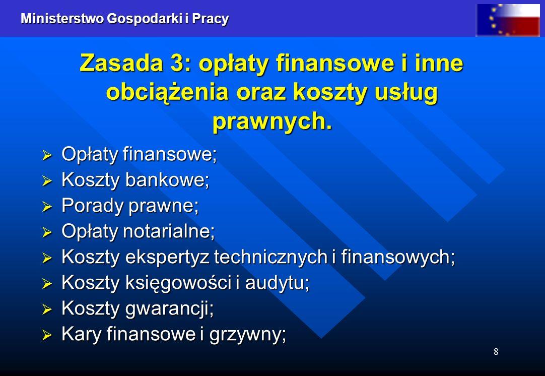 Zasada 3: opłaty finansowe i inne obciążenia oraz koszty usług prawnych.