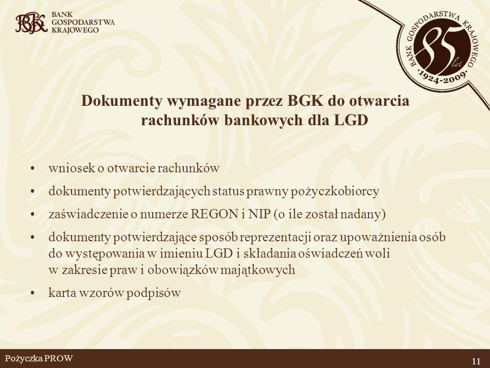 Dokumenty wymagane przez BGK do otwarcia rachunków bankowych dla LGD