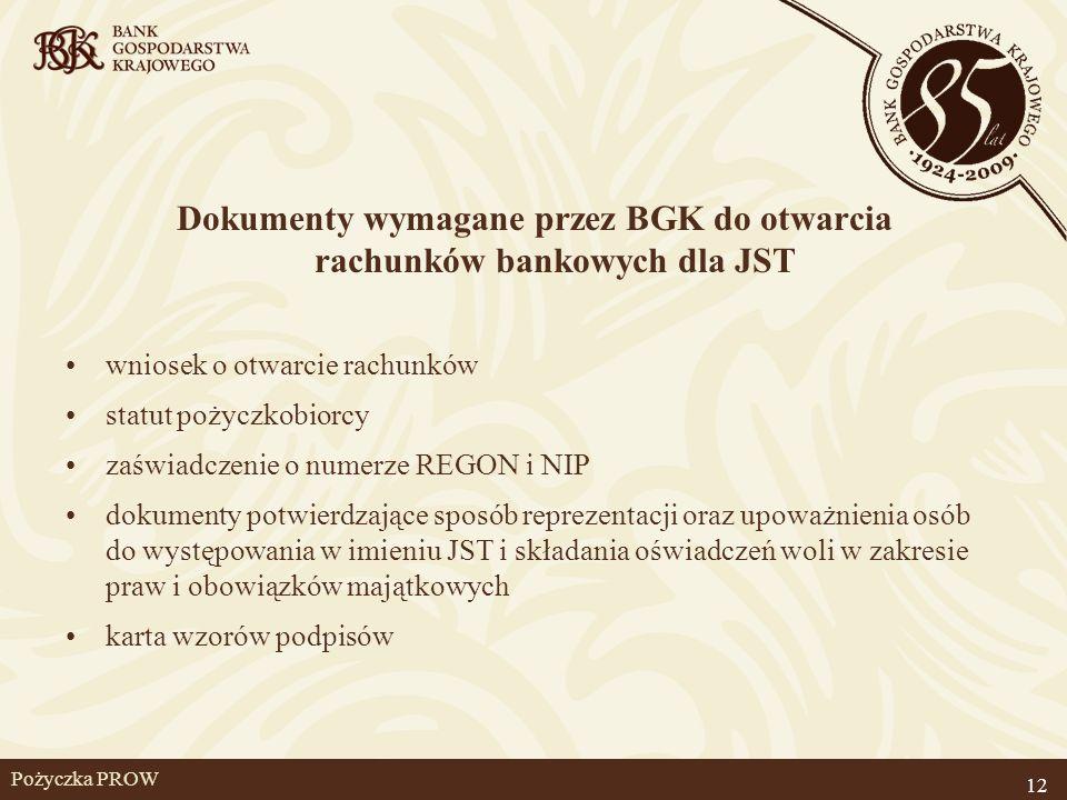 Dokumenty wymagane przez BGK do otwarcia rachunków bankowych dla JST