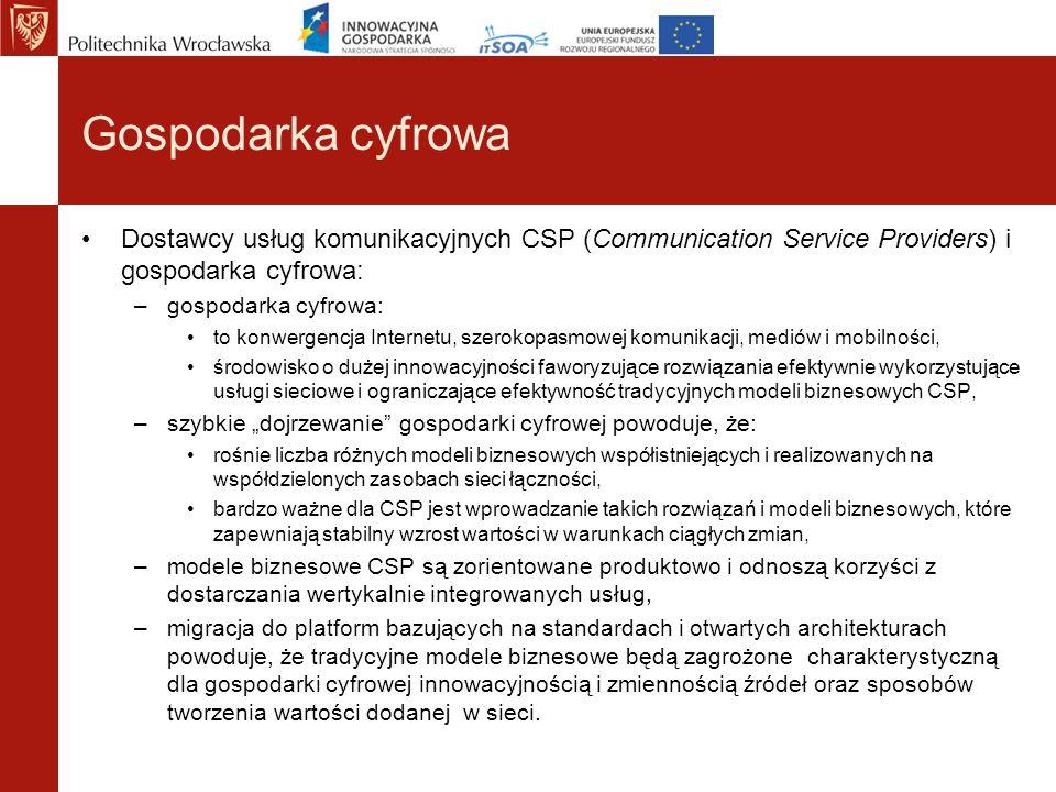 Gospodarka cyfrowa Dostawcy usług komunikacyjnych CSP (Communication Service Providers) i gospodarka cyfrowa: