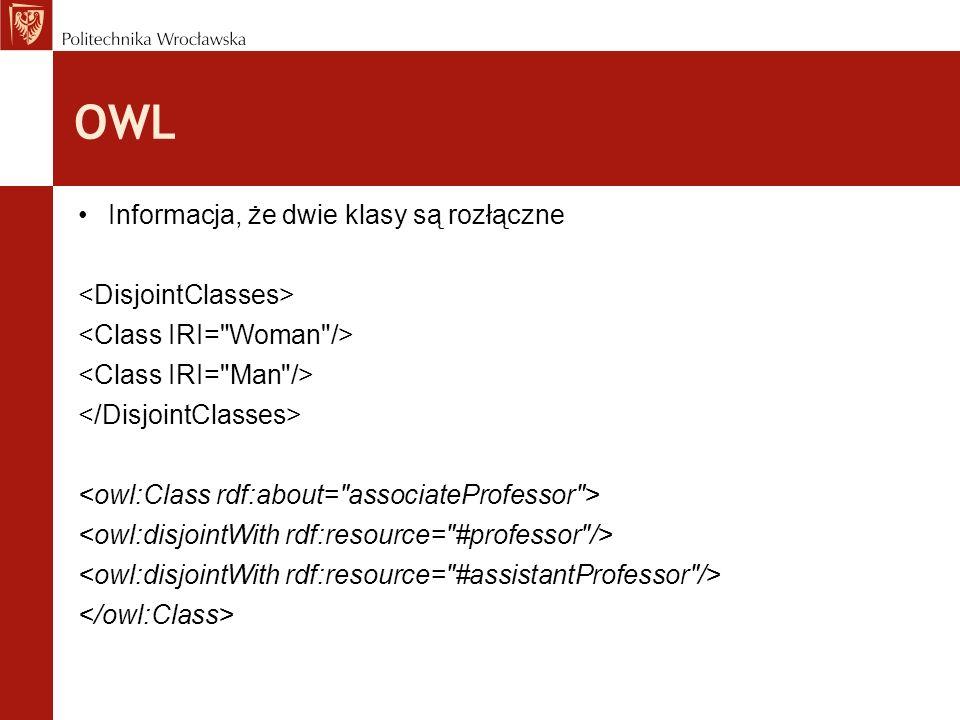 OWL Informacja, że dwie klasy są rozłączne <DisjointClasses>
