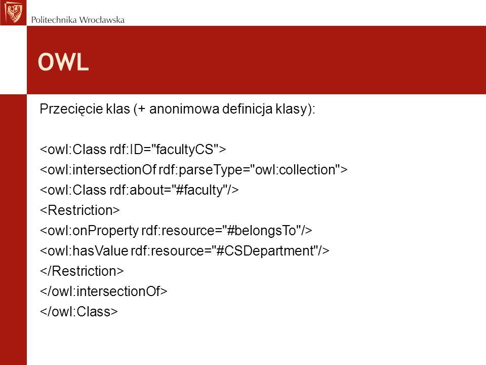 OWL Przecięcie klas (+ anonimowa definicja klasy):
