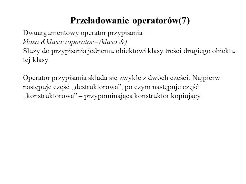 Przeładowanie operatorów(7)
