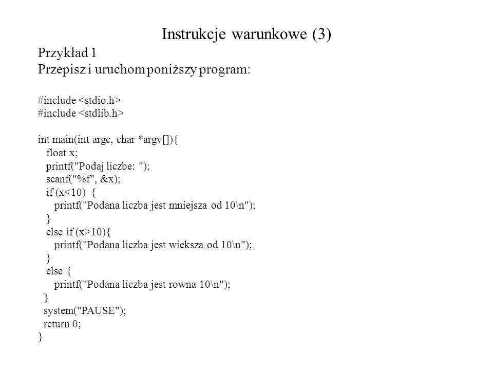 Instrukcje warunkowe (3)