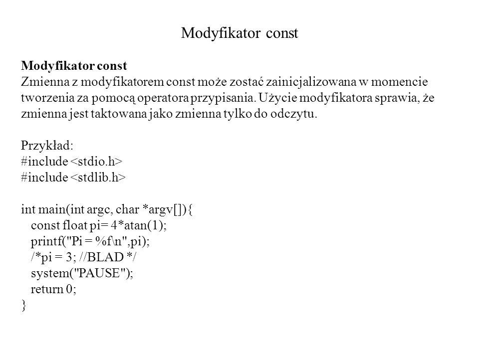 Modyfikator const Modyfikator const
