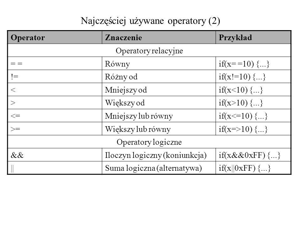 Najczęściej używane operatory (2)