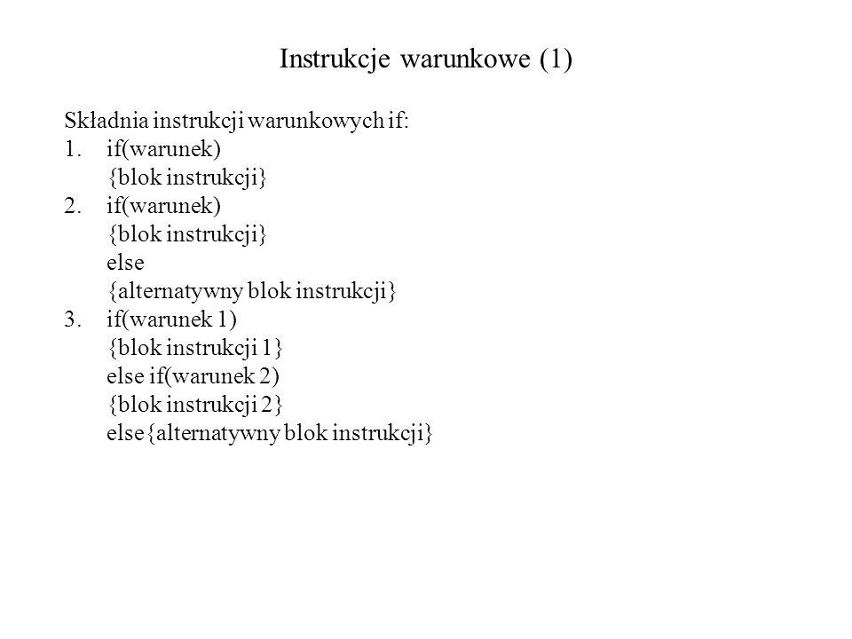 Instrukcje warunkowe (1)
