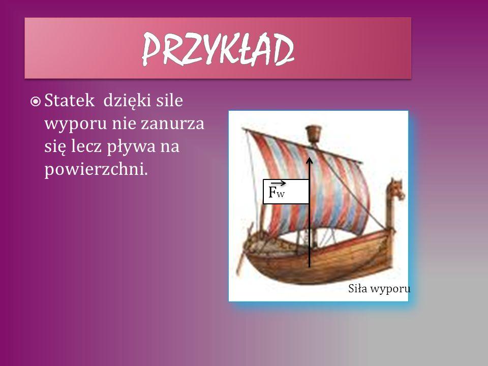 przykład Statek dzięki sile wyporu nie zanurza się lecz pływa na powierzchni. Fw Siła wyporu