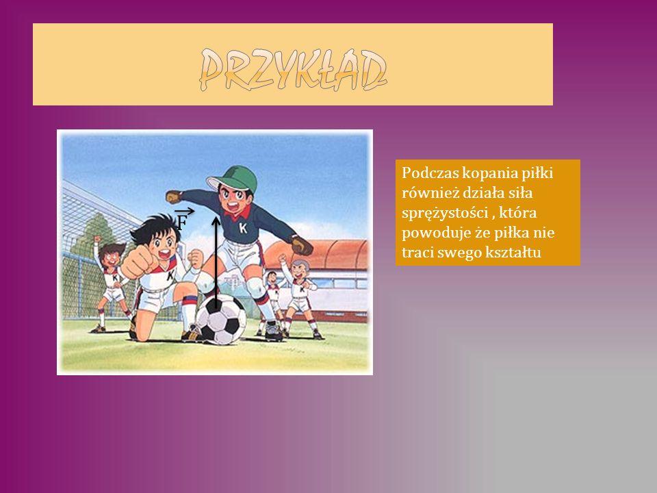 PRZYKŁAD Podczas kopania piłki również działa siła sprężystości , która powoduje że piłka nie traci swego kształtu.