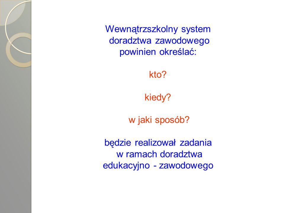 Wewnątrzszkolny system doradztwa zawodowego powinien określać: