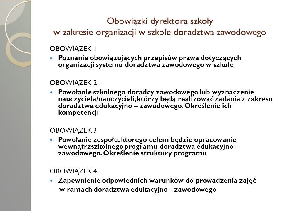 Obowiązki dyrektora szkoły w zakresie organizacji w szkole doradztwa zawodowego