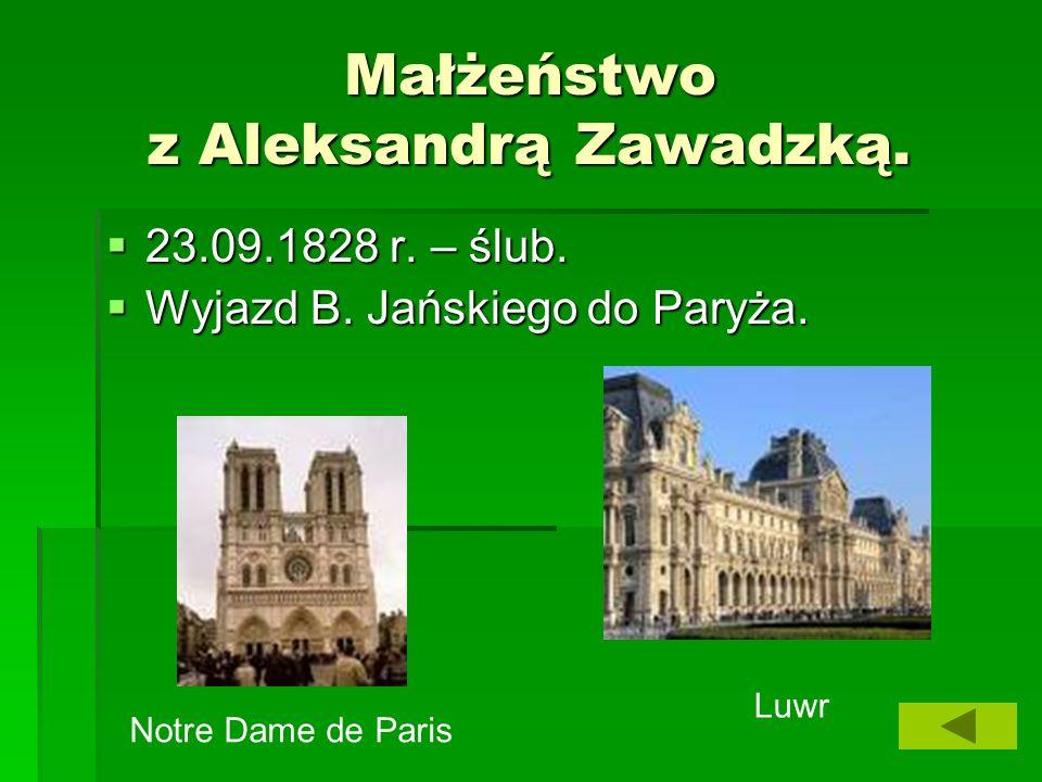 Małżeństwo z Aleksandrą Zawadzką.