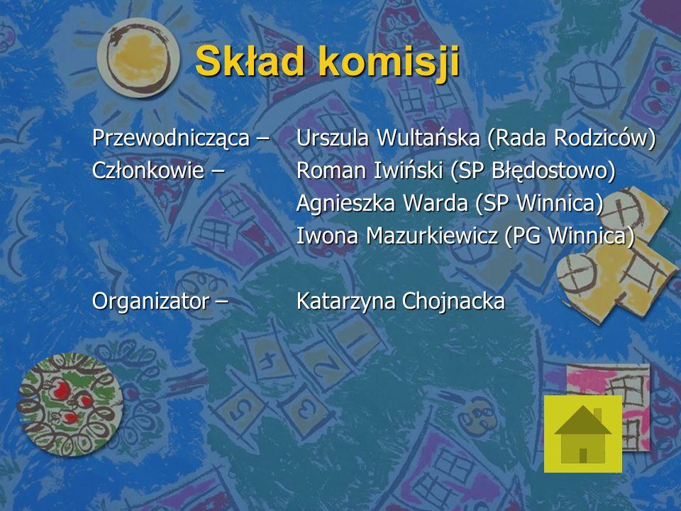Skład komisji Przewodnicząca – Urszula Wultańska (Rada Rodziców)