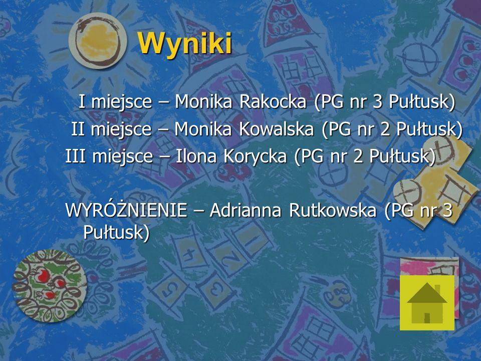 Wyniki I miejsce – Monika Rakocka (PG nr 3 Pułtusk)