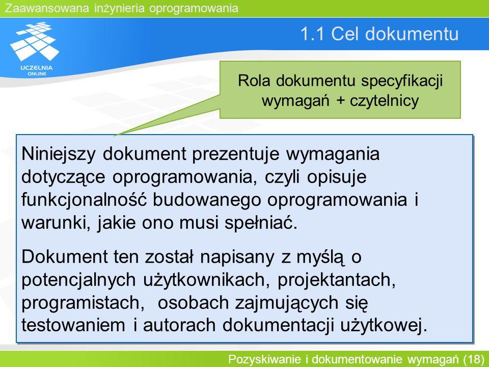 Rola dokumentu specyfikacji wymagań + czytelnicy