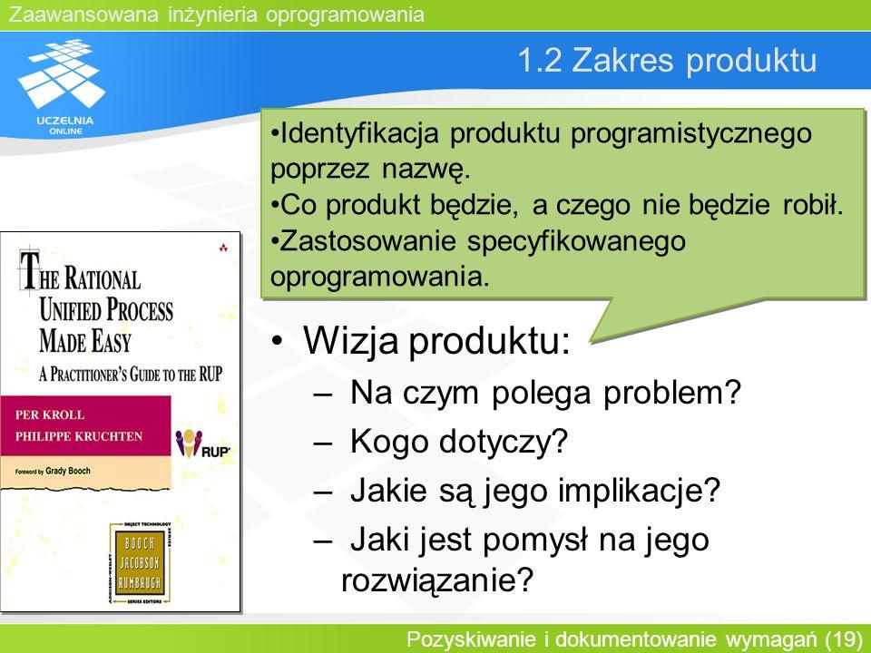 Wizja produktu: 1.2 Zakres produktu Na czym polega problem