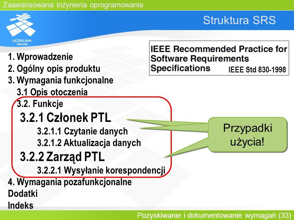 3.2.1 Członek PTL 3.2.2 Zarząd PTL Struktura SRS Przypadki użycia!