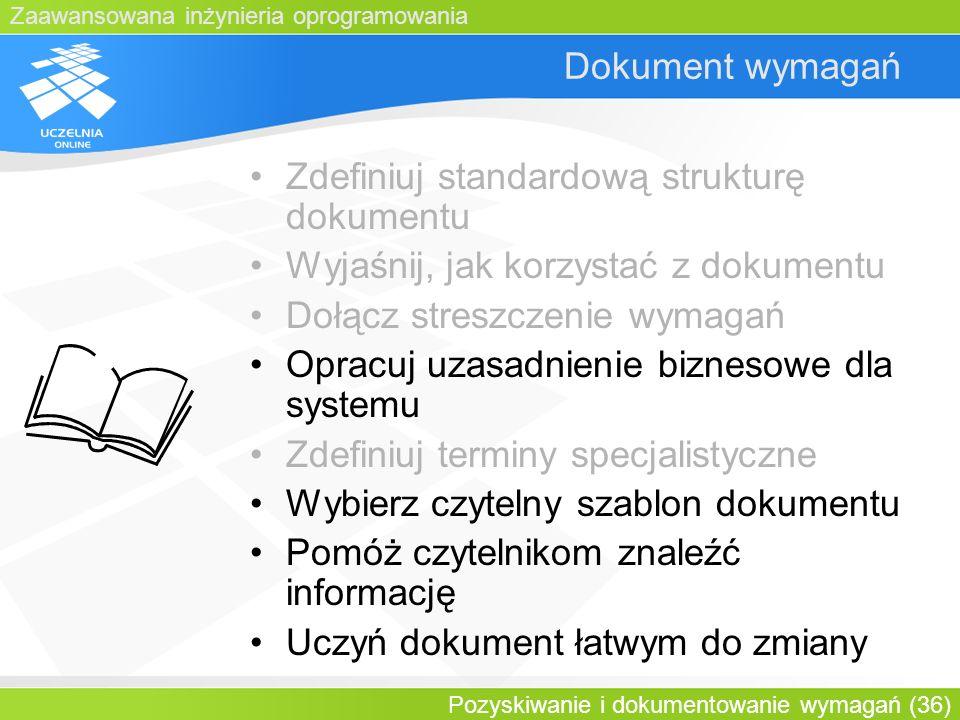 Zdefiniuj standardową strukturę dokumentu