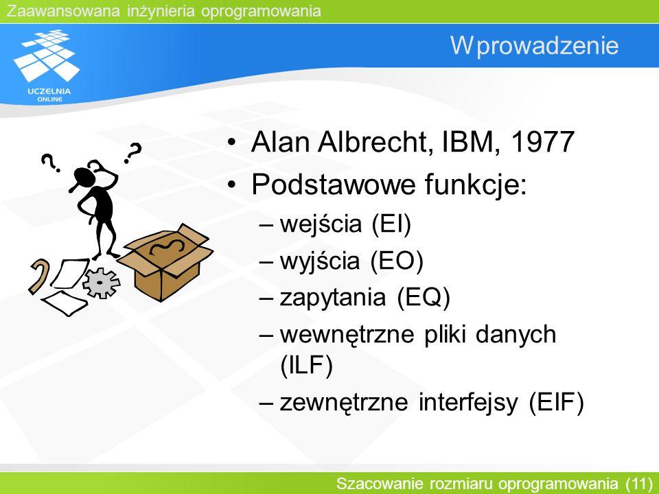 Alan Albrecht, IBM, 1977 Podstawowe funkcje: Wprowadzenie wejścia (EI)