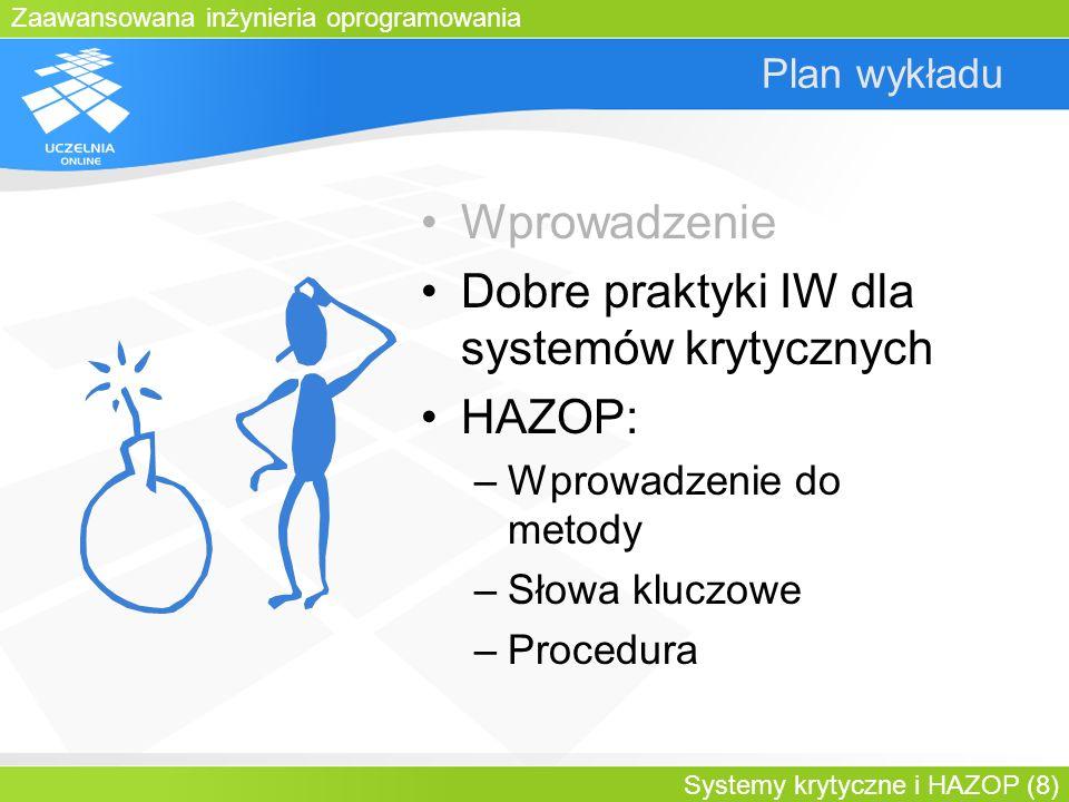 Dobre praktyki IW dla systemów krytycznych HAZOP: