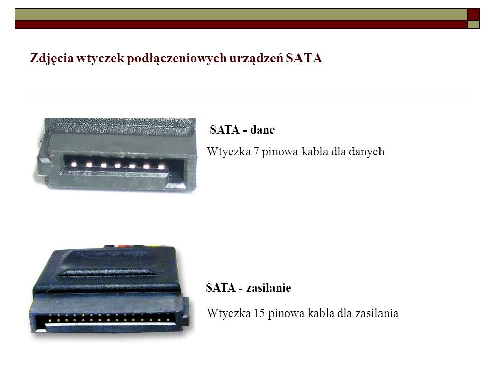 Zdjęcia wtyczek podłączeniowych urządzeń SATA