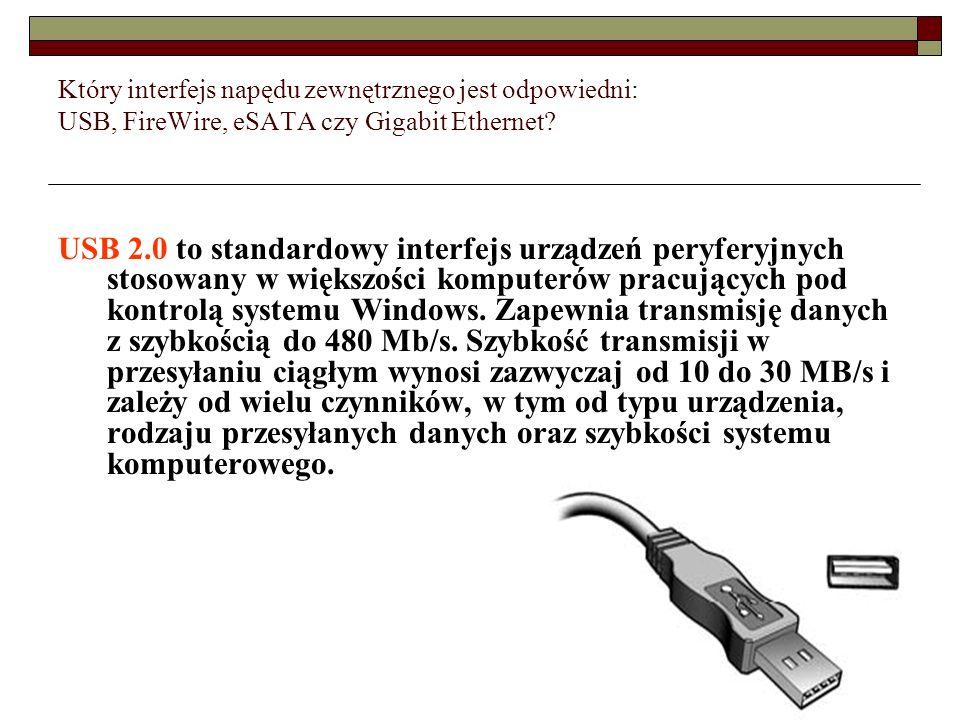 Który interfejs napędu zewnętrznego jest odpowiedni: USB, FireWire, eSATA czy Gigabit Ethernet