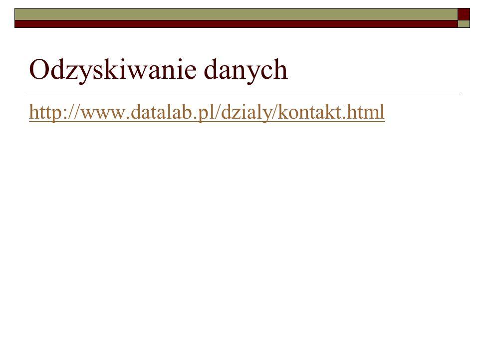 Odzyskiwanie danych http://www.datalab.pl/dzialy/kontakt.html